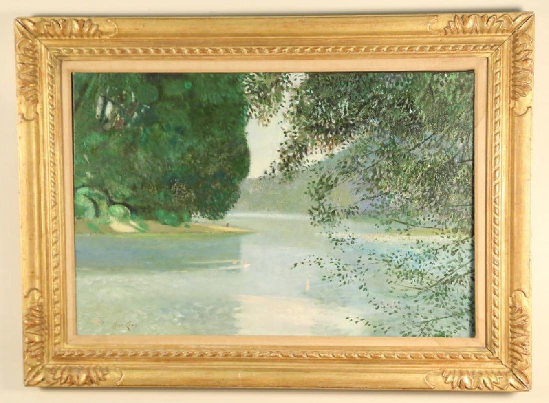 """RENE GENIS """"FEUILLAGES ET RIVIERE"""" OIL ON CANVAS"""
