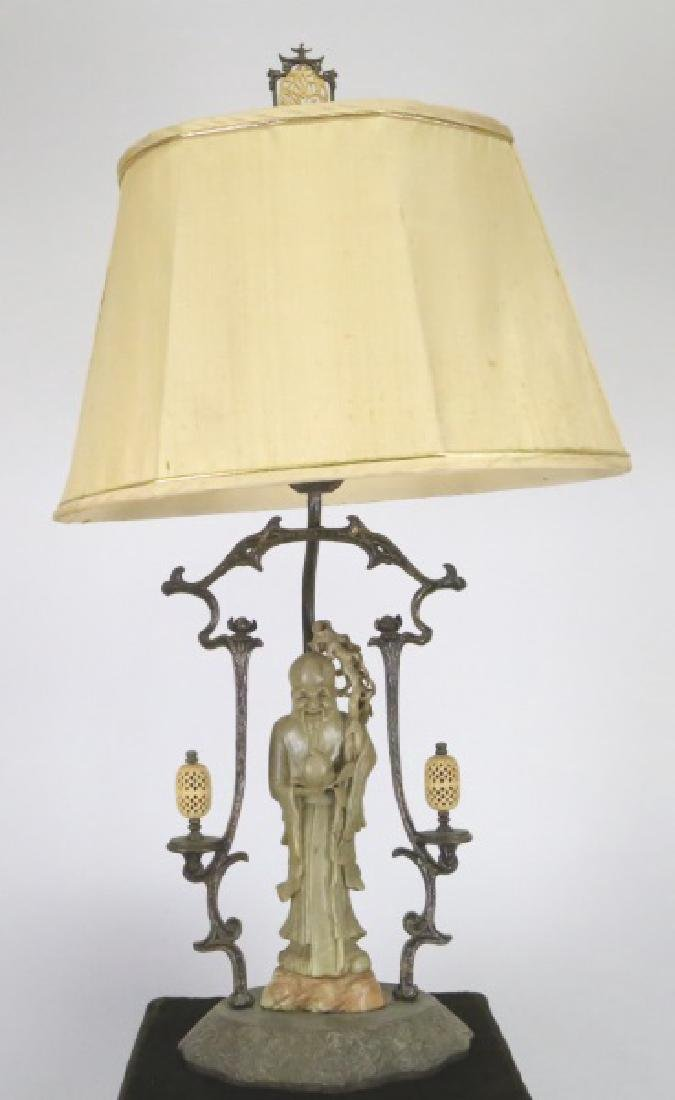 1930's  CHINESE CARVED JADEITE LAMP