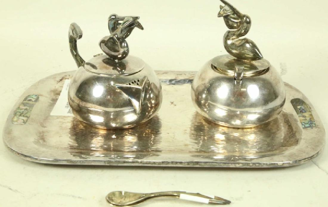 MEXICAN SILVER SUGAR, CREAMER, TRAY SET BY LOS CASTILLO
