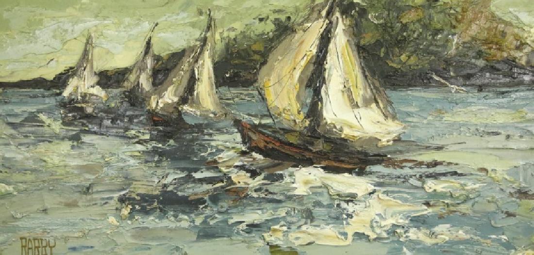 """JIM RABBY """"SAILBOATS"""" OIL ON CANVAS, 1973"""