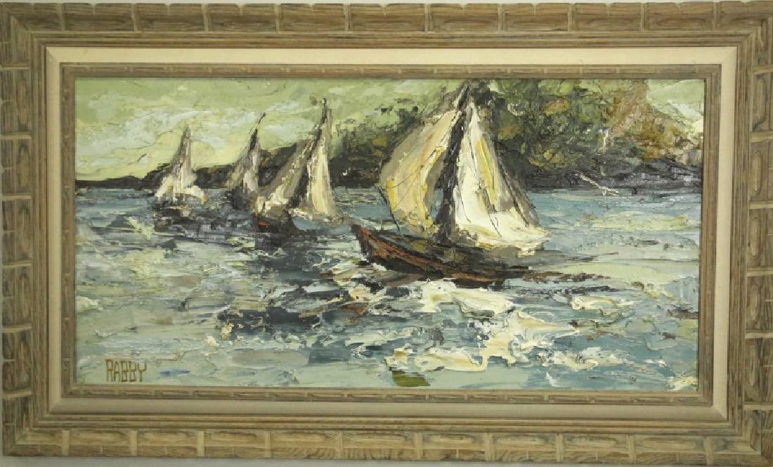 """JIM RABBY """"SAILBOATS"""" OIL ON CANVAS, 1973 - 2"""
