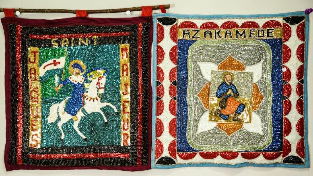 LOT OF TWO HAITIAN BEADED TAPESTIRES WITH SAINTS