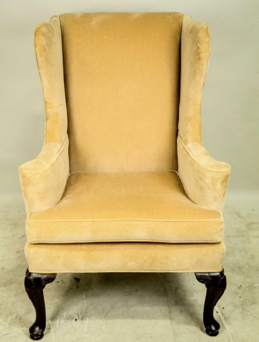 PAIR OF QUEEN ANNE STYLE WING CHAIRS