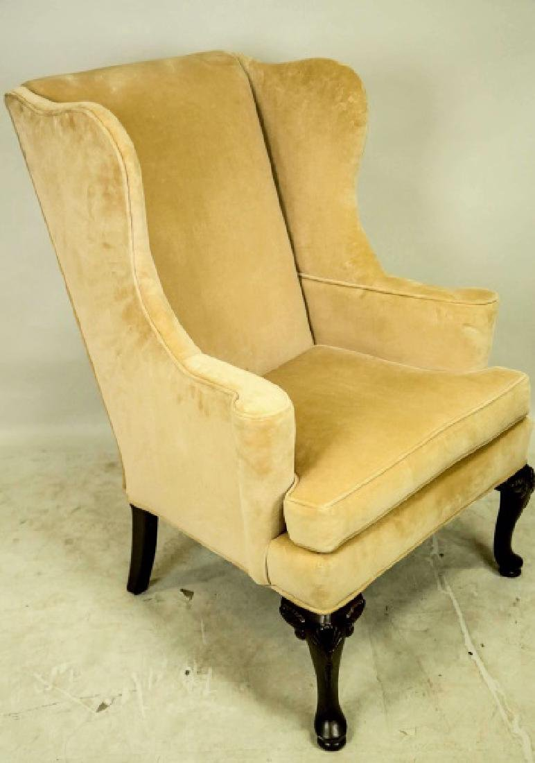 PAIR OF QUEEN ANNE STYLE WING CHAIRS - 2