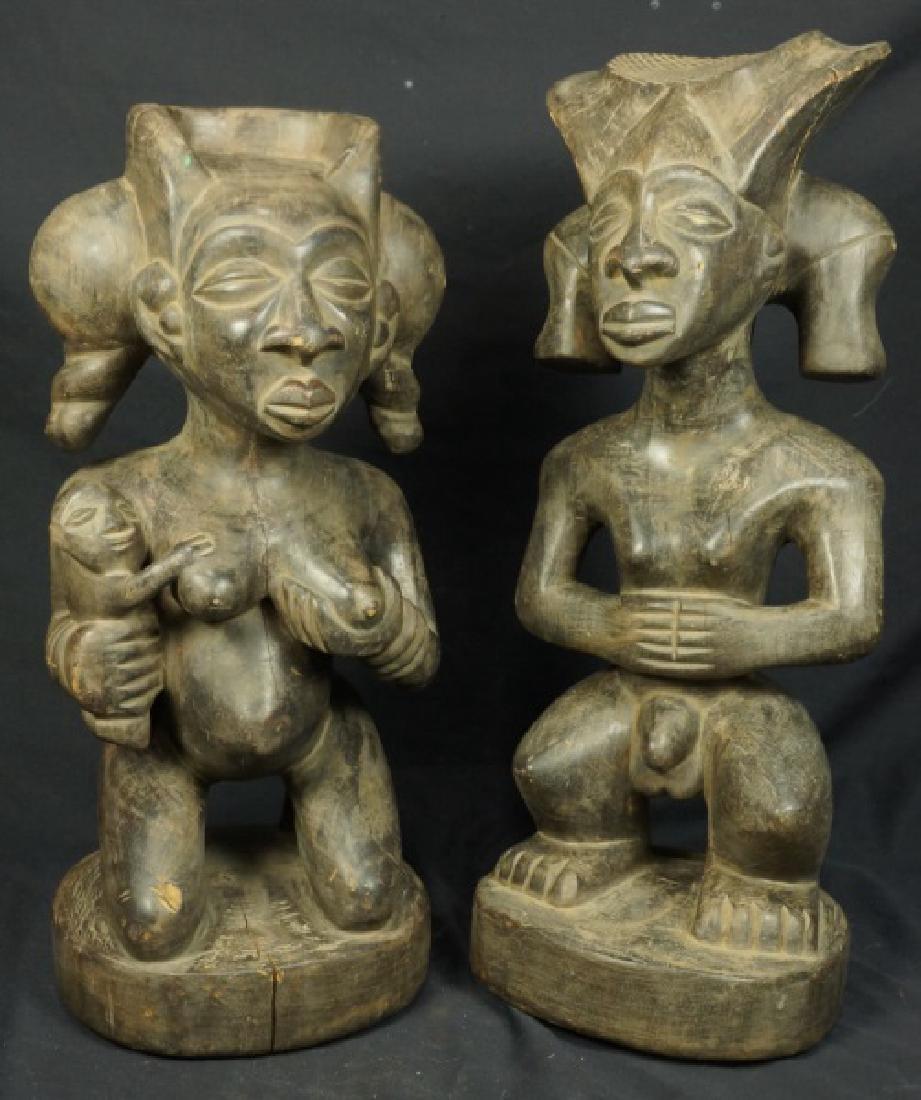 PAIR OF CHOKWE SCULPTURES CHIBINDA ILUNGA & LWEJI