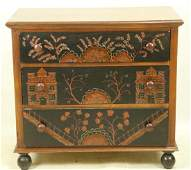 CHINESE STYEL CHEST OF DRAWERS ON BUN FEET