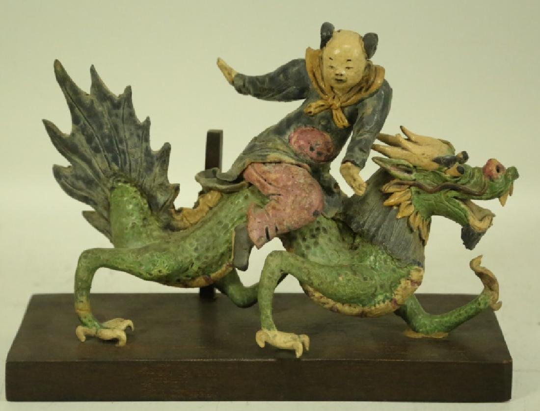 19th CENTURY CHINESE FIGURAL ROOF TILE