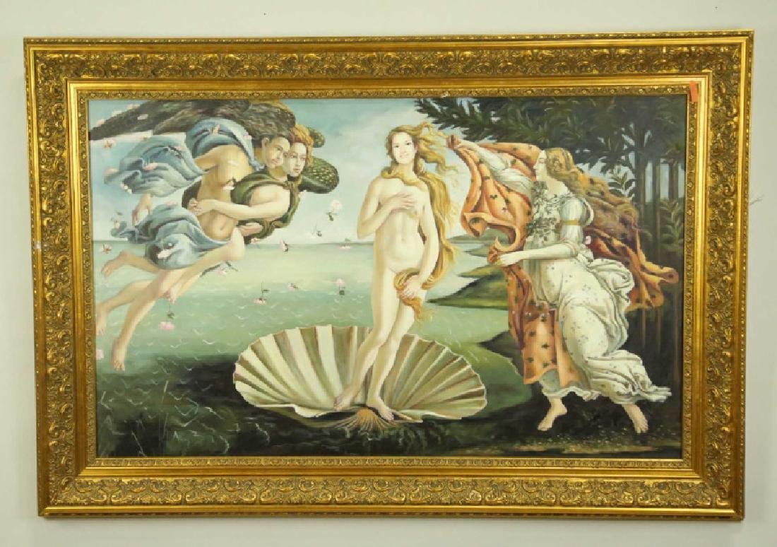 "AFTER BOTTICELLI ""THE BIRTH OF VENUS"" OIL/CANVAS"