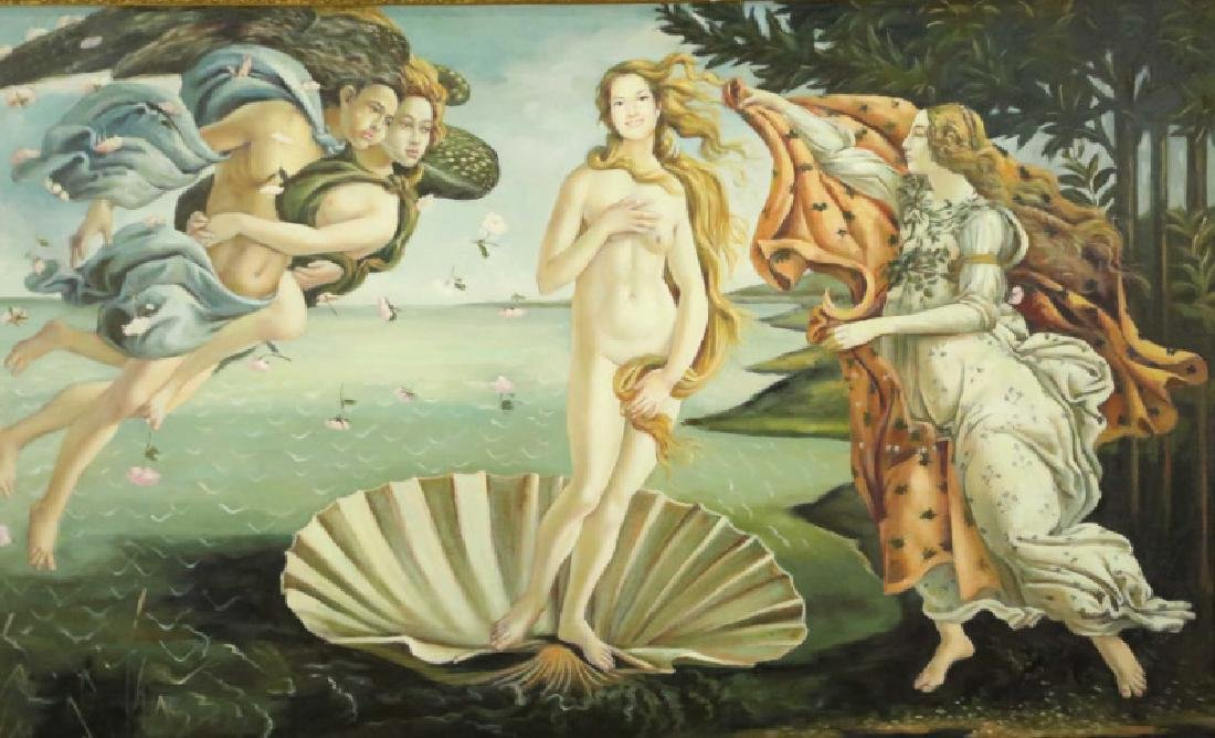 "AFTER BOTTICELLI ""THE BIRTH OF VENUS"" OIL/CANVAS - 2"