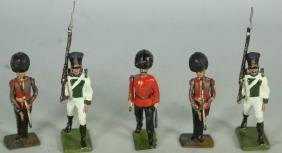 MIXED LOT OF FIVE 19th CENTURY PAINTED TIN SOLDIER