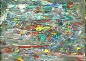PETER SAMUELS ABSTRACT ACRYLIC ON CANVAS PAINTING