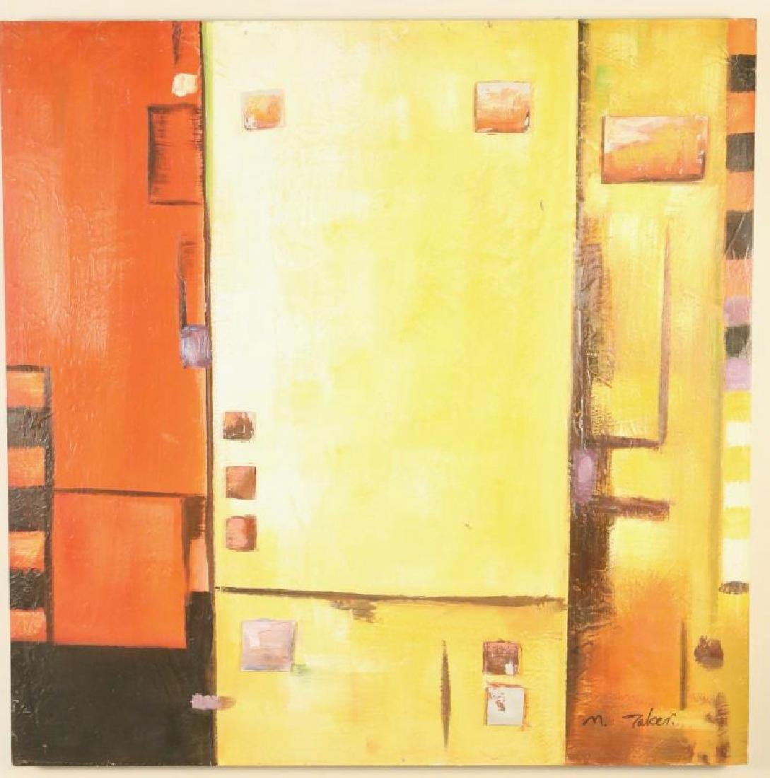 MIXED MEDIA PAINTING IN ORANGE, REDS, YELLOWS