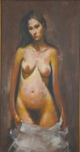 NUDE FEMALE OIL ON ARTIST's BOARD