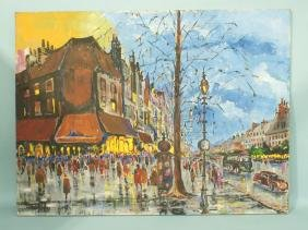 UNFRAMED OIL PAINTING OF FRENCH CITYSCAPE