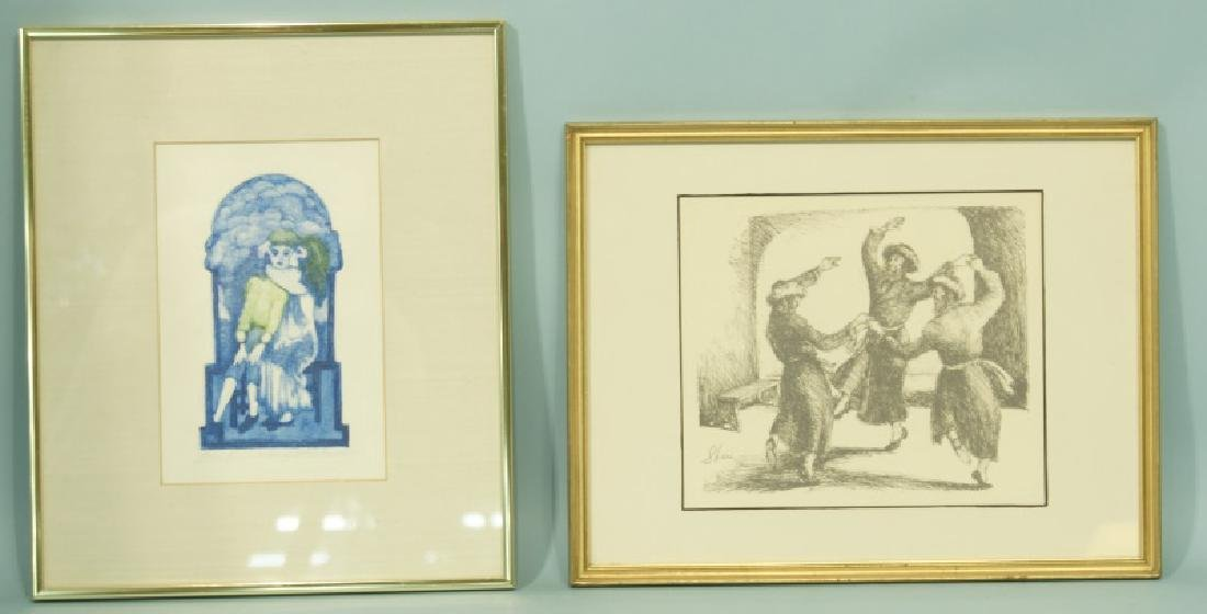 LOT OF TWO FRAMED AND MATTED PRINTS OF GIRLS & MEN