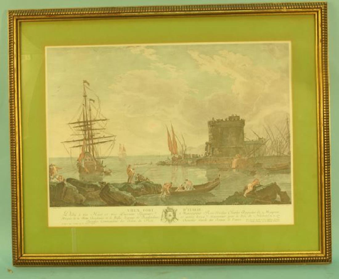 """HAND COLOR PRINT OF """"VIEUX FORT D'ITALIE"""""""