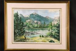 HENRY WORTHAM FOREST SCENE WATERCOLOR PAINTING