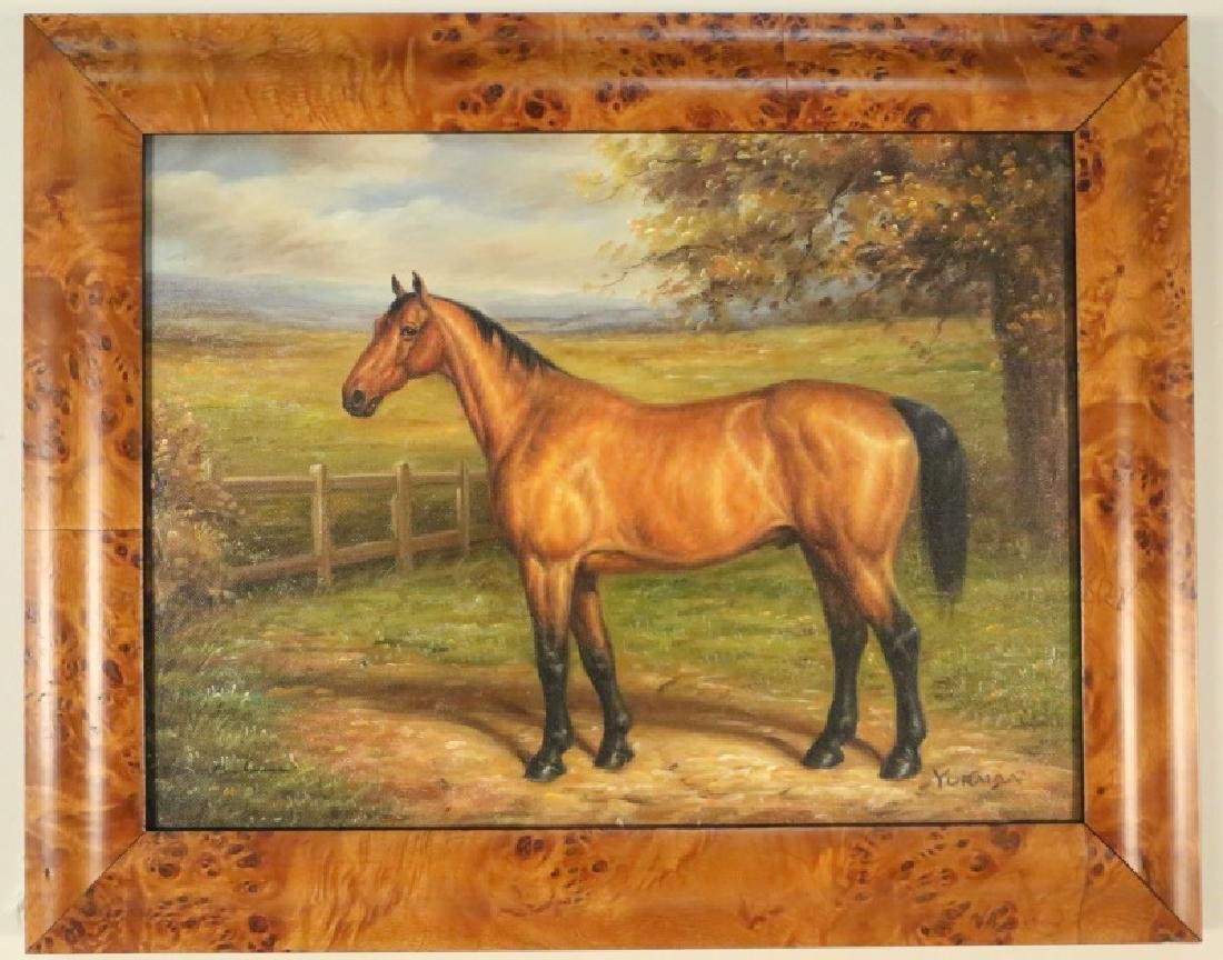 OIL ON CANVAS HORSE PAINTING