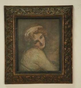 FEMALE PORTRAIT PRINT IN CARVED & GILDED FRAME