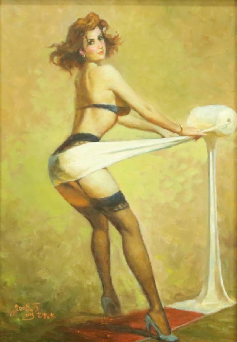 RISQUE FEMALE ON CANVAS
