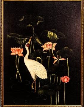FLOWER AND STORK OIL ON CANVAS PAINTING