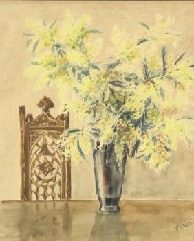"""H. GROSZ """"FLORAL STILL LIFE"""" WATERCOLOR PAINTING"""