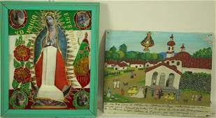 LOT OF TWO MEXICAN RATABLO FOLK ART PAINTED TIN