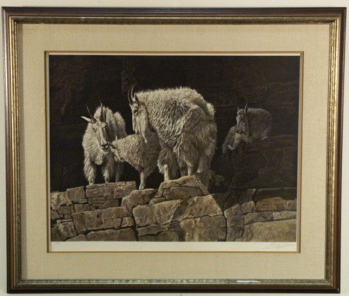 235: Mountain goats print, signed by Gay Swanson