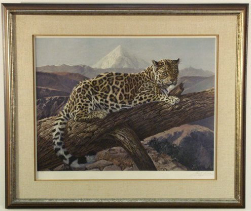 236: Leopard in a tree print, by Gay Swanson
