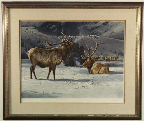 237: Elk in the snow print,  signed by: Gay Swanson