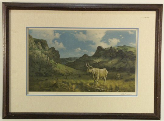 239: Texas Longhorn print signed by Robert Summers