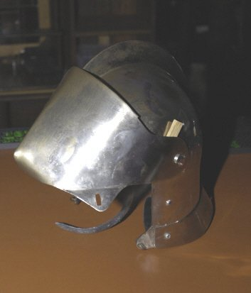 242: Reproduction Metal helmet with swinging face guard