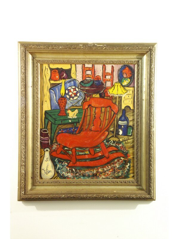 246: Abstract picture on canvas of still life bedroom