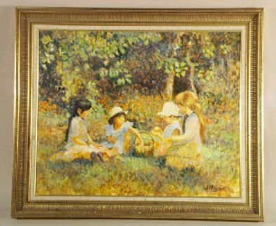 226: Picture on canvas, girls at a picnic, gold frame