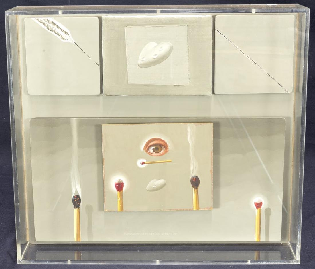 DONALD ROLLER WILSON  ACRYLIC ON CANVAS IN LUCITE  BOX