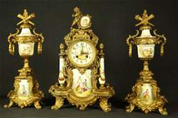 MARBLE MANTLE CLOCK & PAIR OF CANDELABRAS