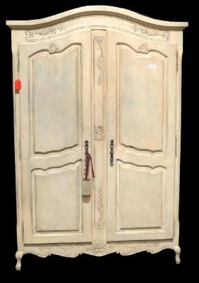 Pickled Finish French Armoire