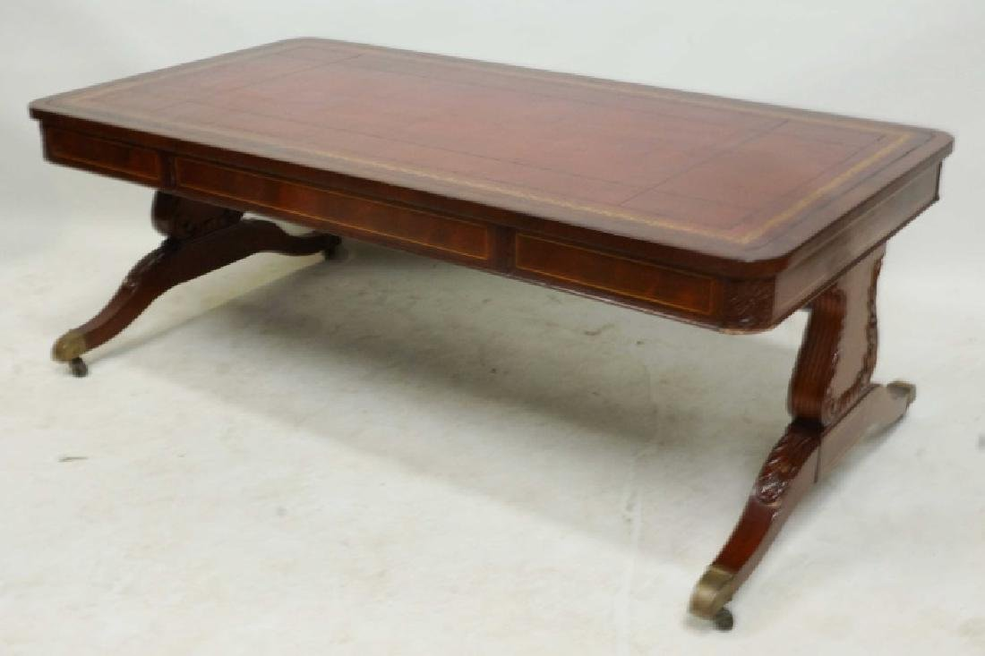 Vintage Duncan Phyfe Coffee Table With Leather Top