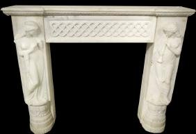 Carved Marble Fireplace Mantel In The Adam's Taste
