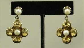 PAIR OF ANTIQUE CITRINE PEARL  14KT GOLD DROP EARRINGS