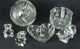 MIXED LOT OF SIX GLASS DECORATIVE PIECES