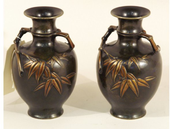 1008: Pair of bronze urns with bamboo ornamentation, 6""