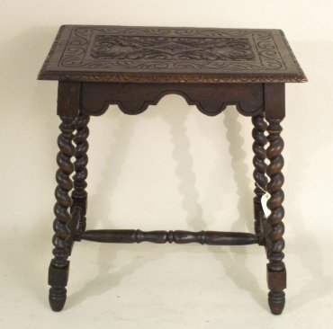 1015: Heavily Carved Wood Table, 19th C., barley twist