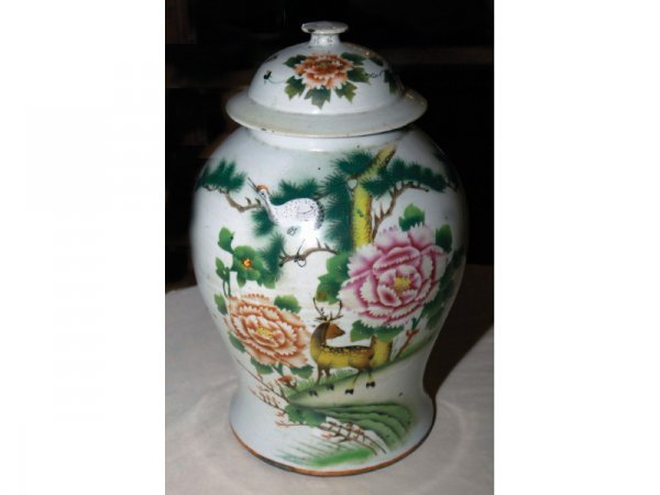 1016: 19th C. Green and white vase