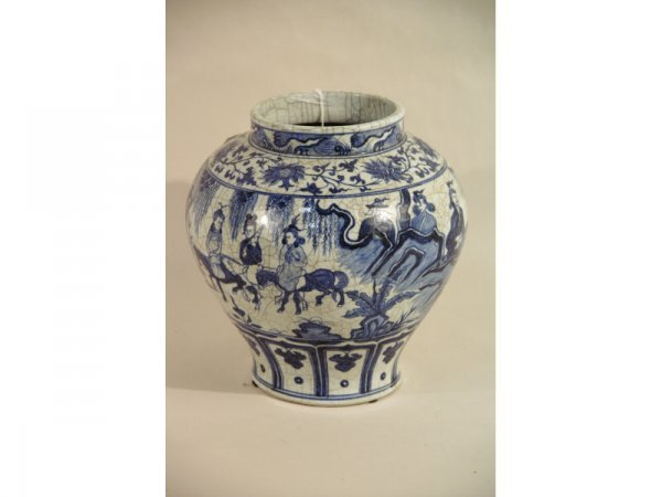 "1017: 19th C. Blue and white porcelain vase.  12"" wide"