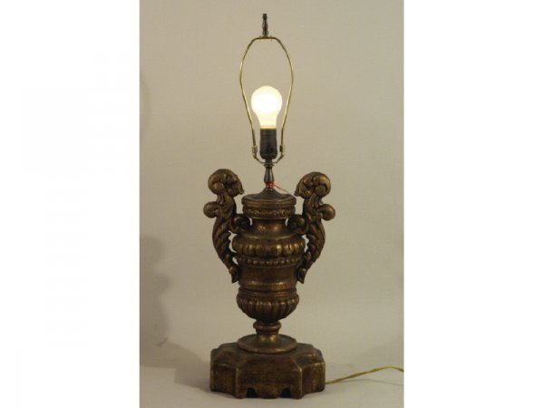 "1019: Wood table lamp, faux antique finish.  9"" wide by"