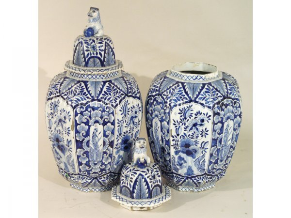 1057: Blue and white Delft porcelain vases, pair, late