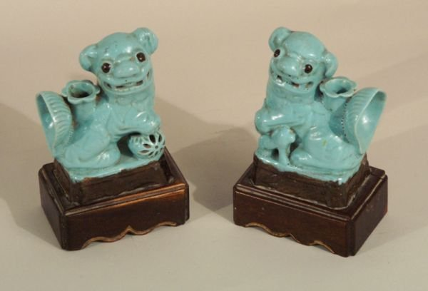 "1022:  Pair terracotta foo dogs on wood base.   6 1/2""H"