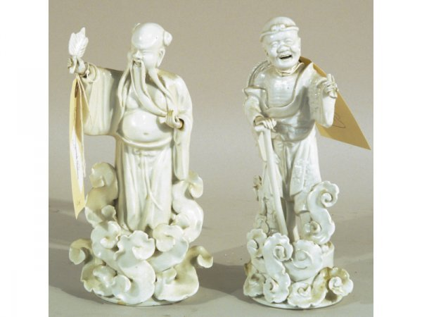 """1206: Pair Blanc d'Chine figurines.  5"""" wide by 10"""" hig"""