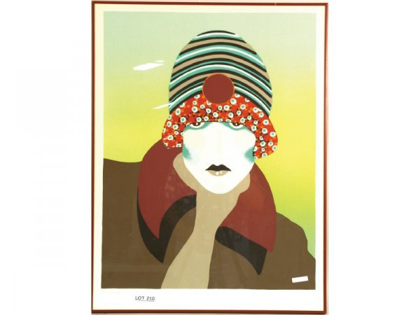 1210: Lithograph, 42/200, portrait of woman, signed by